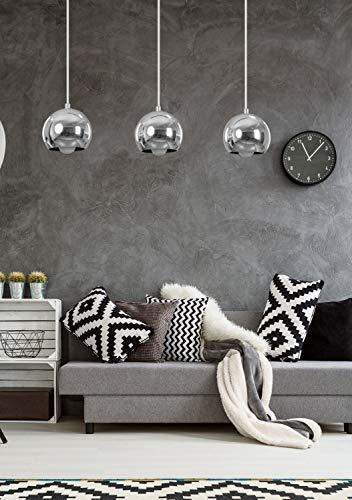Hängelampe BALOIA Chrom Kugel Retro 3-flammig glanzvoll E27 Wohnzimmer Esstisch Pendelleuchte