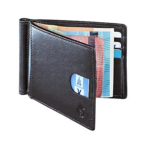 Echtleder Portemonnaie mit Geldklammer für Herren. Geldbörse mit RFID-Blocker (Schwarz)