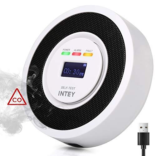 INTEY CO Melder Elektrochemisches Signal CO-Sensor Kohlenmonoxid Melder Hohe Empfindlichkeit, Batteriebetrieben - Stromausfall hat keinen Einfluss auf die Nutzung [mit 3 m USB Ladekabel]