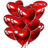 Playcrate 12x Herz Helium Luftballons Rot – Folienballon & Herzluftballon Set für Hochzeit, Verlobung & Valentinstag – große Folien Ballons & Heliumballons in Premiumqualität