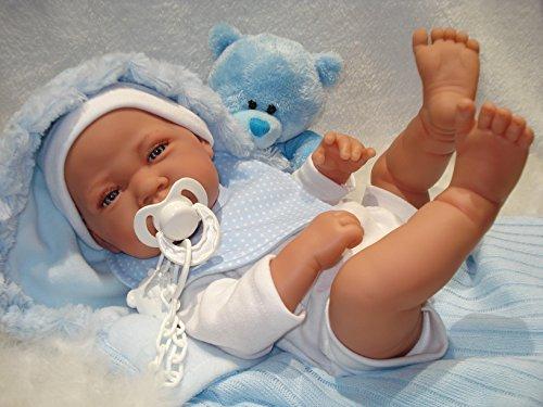 """Antonio Juan Baby""""Dominik""""im Schlafsack mit Schuller,Babypuppe,Spielpuppe,Sammlerpuppe,Puppe"""