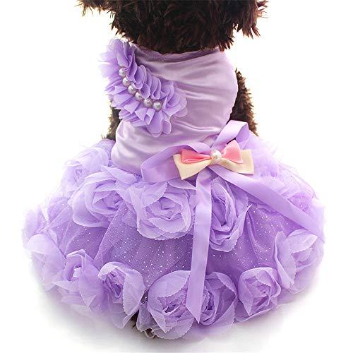 (Yezijiang Perro de mascota Vestido de Princesa Tutu Rosetón y arco Vestidos Cat Puppy Skirt)