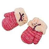 Hikfly Mignon Knit Moufles Mitaines Gants pour Bébé Filles Garçons Tout-Petits Sports de Plein Air Gants Thermiques Warmer Mittens Cadeau De Noël (1-3 ans) (Pêche, H)