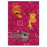 Sam Zootiere pink Kinderteppich arte espina 4153-44, Größe:110*160cm