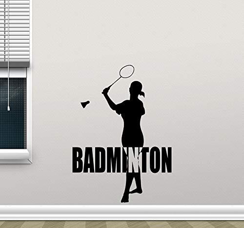 Hechuyue Sport mädchen Silhouette Vinyl wanddekoration Aufkleber Badminton Applique Schlafzimmer Dekoration Gym Schule wandbild Bewegung 75x104 cm