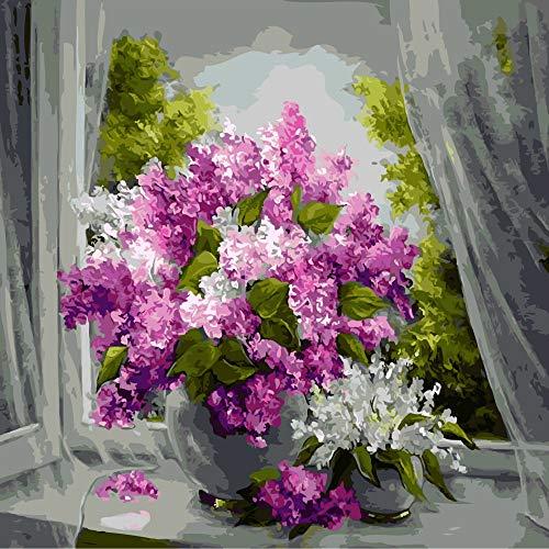 zlhcich Digitale malerei palast Blume Landschaft Wohnzimmer Dekoration malerei System Q004-9 rahmenlose 50 cm * 60 cm - Gelbe Sand-holz Ständer