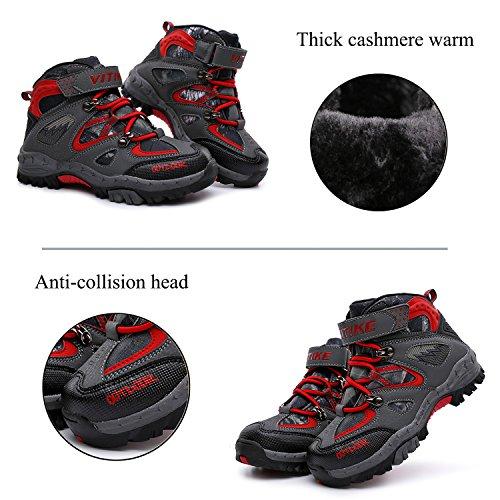 ASHION Kinder Schnee Stiefel Camouflage Wasserdichte Winterschuhe Kinder rutschfeste Knöchel Wandern Stiefel für Winter Gummistiefel Rot