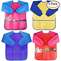 XUTONG Pack of 4 Kids Art Smocks, Children Waterproof Artist Painting Aprons Long Sleeve with 3 Pockets for Age 2-6 Years