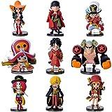 lunanana Anime Einteilige Figuren-Set: Luffy/Zoro/Chopper Mini PVC-Figur/Vinyl-Figur/Action-Figur/Sammlerstück/Anime-Fans Geschenk, 8cm, American Football, 9 Stück