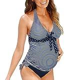 LSAltd Plus Size Frauen Mutterschaft Tankinis Frauen Streifen Dot Print Bikini Damen Bandage Bowknot Schwangere Badeanzug Beachwear Mutter Schwimmen Kostüm Größe S-5XL