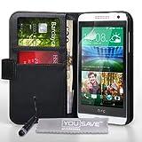 Yousave Accessories Coque HTC Desire 610 Etui Noir PU Cuir Portefeuille Housse Avec Mini Stylet