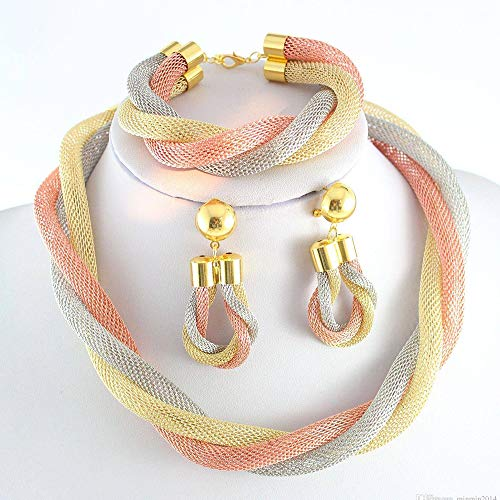 3PCS Schmuck-Set Mehrfarbige Legierung Geflochtene Hohlhalskette 3-Teilig Set Combo Braut Hochzeitsschmuck-Set (Halskette + Ohrringe + Armband) (Halskette-ohrring-combo)