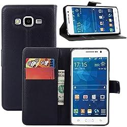 COPHONE® Etui Coque Housse de Protection Noir en Cuir pour Samsung Galaxy Grand Prime G530 /Grand Prime Value édition G531. Etui porteufeuille Noir Haute qualité