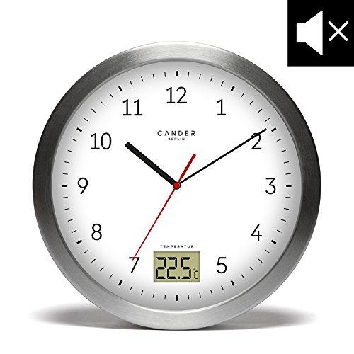 cander Berlin MNU 4017blanche salle de bain ventouses en aluminium avec quatre pour fixation, affichage de la température et lautlosem Horloge–17cm (Ø)–Pas de sensation de tic-tac