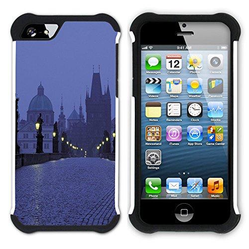 Graphic4You Prag Tschechische Republik Postkarte Aussicht Hart + Weiche Kratzfeste Hülle Case Schale Tasche Schutzhülle für Apple iPhone SE / 5 / 5S Design #30