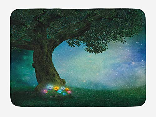 ARTOPB Forest Bath Mat, Fairytale Little Red Riding Hood Forest at Night with Flowers and Stars Image Print, Plush Bathroom Decor Mat with Non Slip Backing, 23.6 W X 15.7 ()