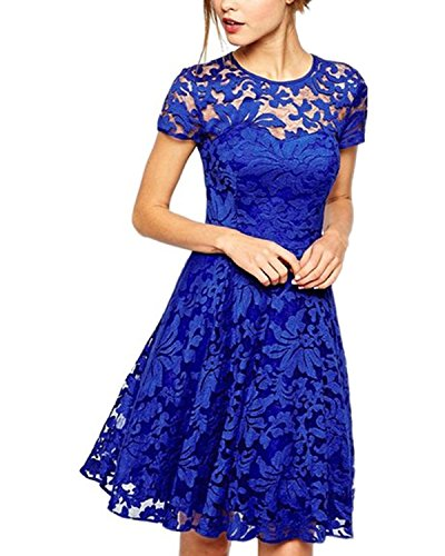 ZANZEA Damen Spitze Lace Party Cocktail Bodycon Club Kurz Abend Minikleider Blau EU 36/US 4