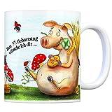 Viel Glück zum 77. Geburtstag Kaffeebecher - Glücksklee, Schwein, Kaminfeger, Glücksbringer, Klee, Marienkäfer und Hufeisen.