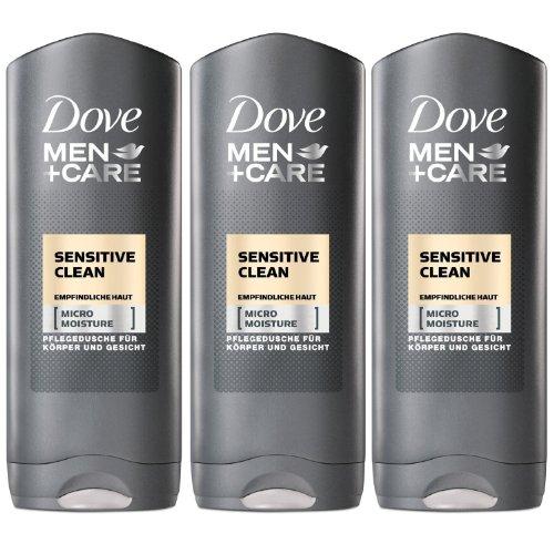 3 x Dove Duschgel Men sensitive je 250 ml, Pflegedusche für Körper und Gesicht