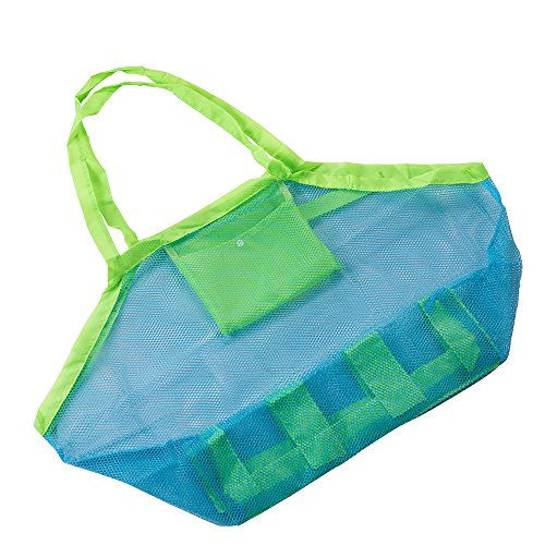 Balala Beach mesh Tote bag spiaggia zaino Portable Beach mesh bag Tote Stay away attrezzo per borse di stoccaggio detriti grande mesh Tote della sabbia away 2PC verde