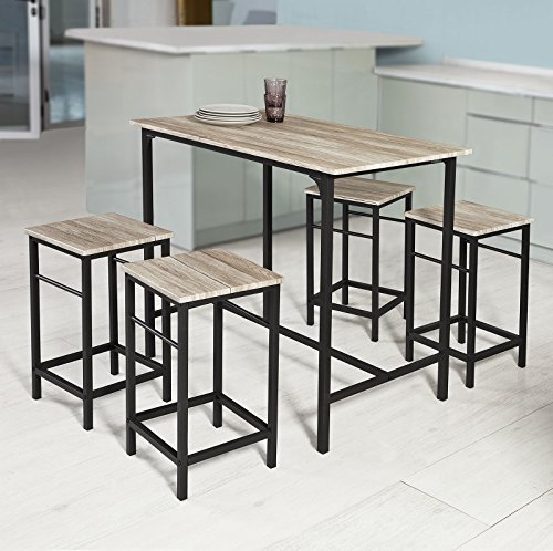 SoBuy® OGT11-N Bartisch Set 5-teilig Stehtisch Bistrotisch mit 4 Stühlen Sitzgruppe