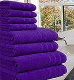 Set di 8 asciugamani pregiati, 100% cotone egiziano, 550g/m², misura XL, Cotone, Purple, 8 Pieces Set