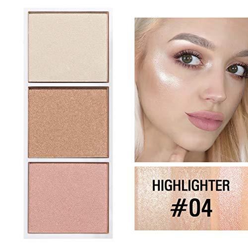 Palette de Contour 3 Couleurs/Surligneur, Huoju Poudre de Contour de Visage Professionnel pour éclaircir les Effets de Maquillage, Fard à joues Brillant Durable et Imperméable (Highlighter #04)
