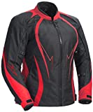 Juicy Trendz Damen Motorradjacke Frauen Wasserdicht Cordura Textil Motorrad Jacke Red X-Large