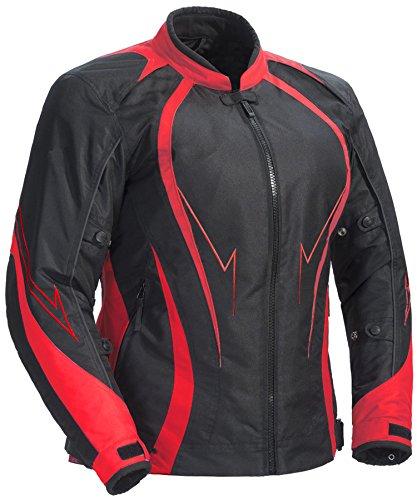 Juicy Trendz Damen Motorradjacke Frauen Wasserdicht Cordura Textil Motorrad Jacke, Rot, M