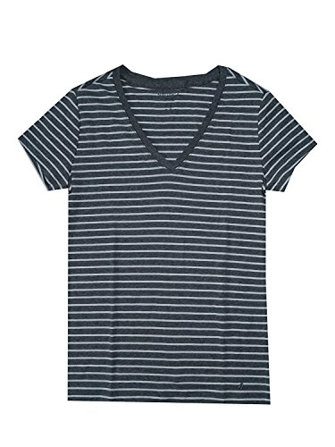 Nautica Women's Embellished V-Neck T-Shirt (Large, Dark Gray/White) - Nautica White Shirt