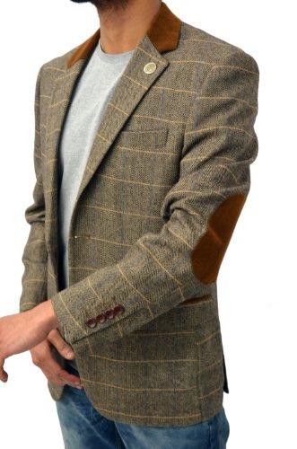 Marc Darcy Blazer elegante a scacchi con rifiniture in velluto, da uomo Marrone