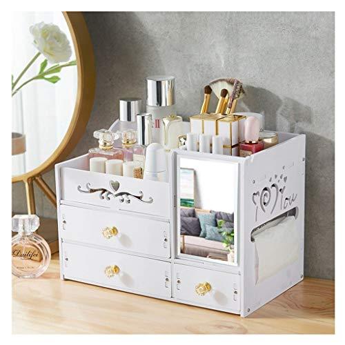 REGAL Shelf Desktop Drawer Kosmetische Finishing Box Mit Spiegel, Weiß (Size : A) -