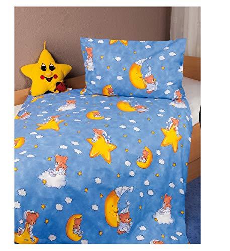 Kinderbettwäsche Renforcé Teddy -Mond-Sterne in 2 Größen Baumwollbettwäsche für Kinder