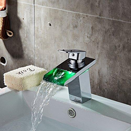 LED Waschtischarmatur von TAPCET Mischbatterie Wasserfall Bad Waschbeckenarmatur Badarmatur Waschtischmischer Wascbecken Armatur Profi Wasserhahn Mixer Tap Armatur Silber -