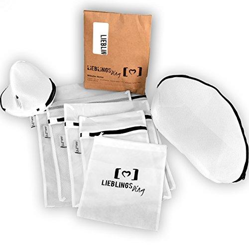 LIEBLINGSDING Wäschenetz für Waschmaschine [ 7 Teile ] inkl. gratis Aufbewahrungsbeutel | optimaler Schutz für Dessous, BH und Schuhe | Wäschesack Wäschebeutel (Pb Bettwäsche)