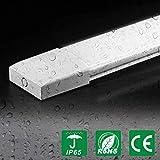 J&C Reglette Tube LED 60CM 18W | Luminaire Plafonnier LED Lampe Atelier Blanc Neutre 4000K 1400LM | Barre Eclairage Garage en PC Etance IP65