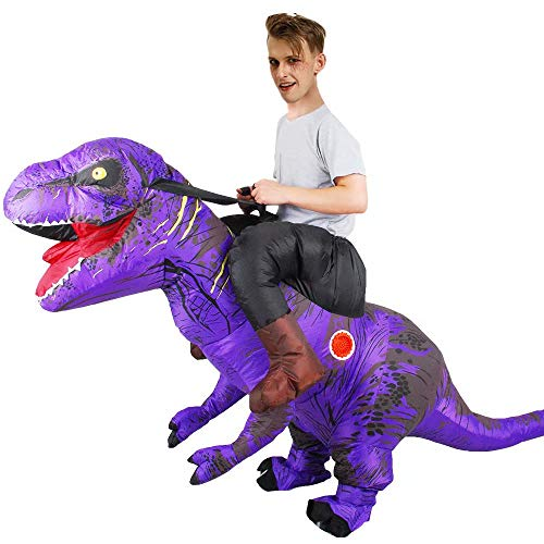 Aufblasbares Dinosaurier T-Rex Kostüm Halloween Horror Party Kostüm Party Outfit Anzug Aufblasbares Deluxe Dinosaurier Reitkostüm - 160-190 cm Höhe (mit Luftgebläse)