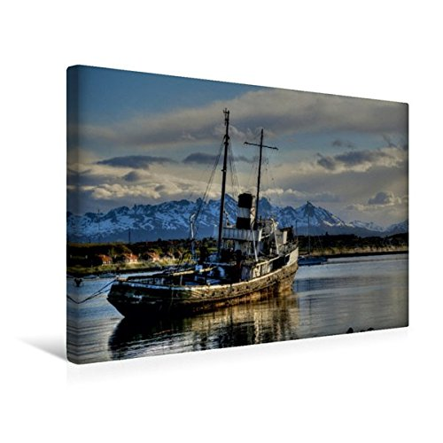 Calvendo Premium Textil-Leinwand 45 cm x 30 cm Quer, Schiffswrack der Saint Christopher im Hafen von Ushuaia | Wandbild, Bild auf Keilrahmen, Fertigbild auf Echter Leinwand, Leinwanddruck Natur Natur
