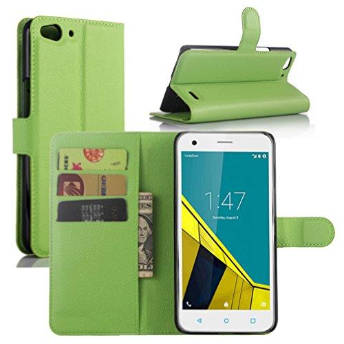 Vodafone Smart Ultra 6 Hülle, HualuBro [Standfunktion] [All Aro& Schutz] Premium PU Leder Wallet Tasche Schutzhülle Case Flip Cover mit Karten Slot für Vodafone Smart Ultra 6 Smartphone (Grün)