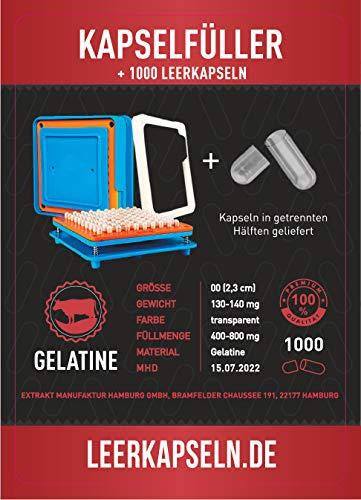 Kapselfüller + 1000 Leerkapseln | Platz für 100 Kapseln | Größe 00 | Bedienungsanleitung DEUTSCH...