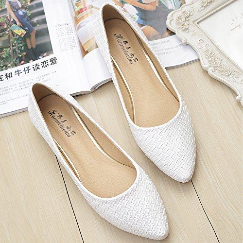 &qq Chaussures plates pointues, plates avec des chaussures de bateau, chaussures de grande taille de mode 38