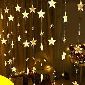 Dapei LED Lichtervorhang Lichter, LED Pentagramm Lichterkette, Weihnachtsbeleuchtung, 4m 40er LED Lichtervorhang Lang…