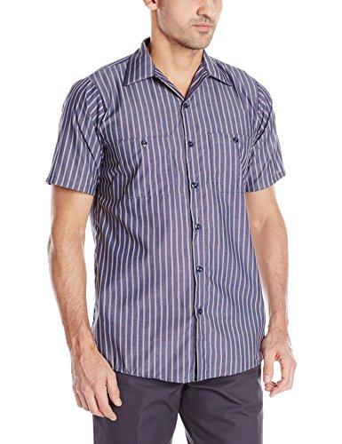 Red Kap Herren Men's Striped Industrial Shirt, Short Sleeve Work Utility Hemd, Navy/Khaki Stripe, 4X-Groß - Short Sleeve Striped Khaki