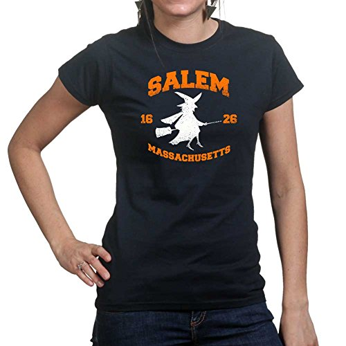 Womens Salem Witch College Halloween Costume Ladies T Shirt (Tee, Top) Black