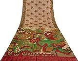 VintageandYou Indian Weinlese-Pfirsich Saree Abstract
