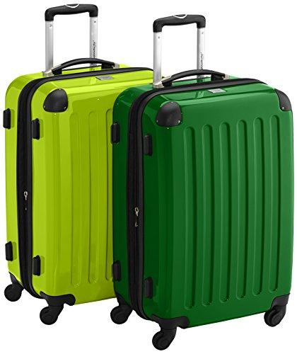 HAUPTSTADTKOFFER - Alex - 2er Koffer-Set Hartschale glänzend, 65 cm, 74 Liter, Graphit-Schwarz Grün-Apfelgrün
