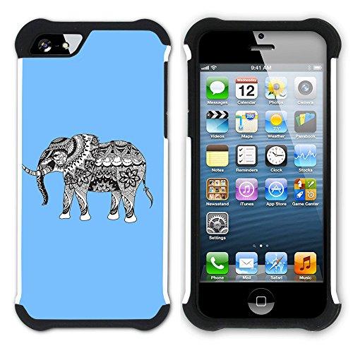 Graphic4You Stammes- Elefant (Wasserblau) Hart + Weiche Kratzfeste Hülle Case Schale Tasche Schutzhülle für Apple iPhone SE / 5 / 5S Babyblau