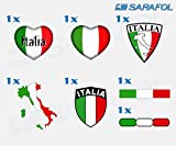 Italien Aufkleber Set 7 tlg. (Nr.068) Adesivo Tricolore Italia Italy Sticker Set Collection