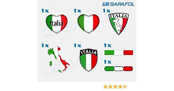 Sarafol Italien Aufkleber Set 7 Tlg Nr 068 Adesivo Tricolore Italia Italy Sticker Set Collection Auto