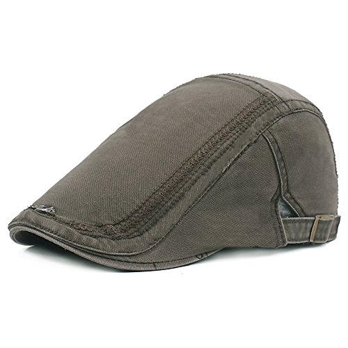b6afcd46 Men's Cotton Plaid Flat Cap Ivy Gatsby Newsboy Hunting Hat (Army Green)
